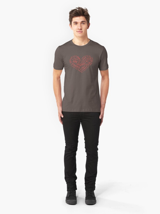 Alternate view of #LDR - heart of words Slim Fit T-Shirt
