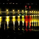 White Salmon Bridge at Night over the Columbia River by Chuck Gardner