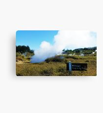 Danger! Keep to the path - Craters of the Moon, Taupo Canvas Print