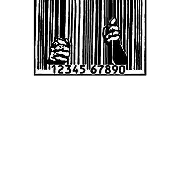 Barcode Jail anti corporate capitalist anarchist occupy activist gift shirt by Johannesart