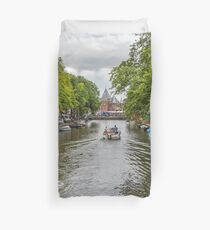 Lazy Sunday Afternoon On A Canal in Amsterdam Netherlands Duvet Cover