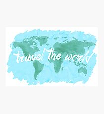 Travel the World watercolor Photographic Print