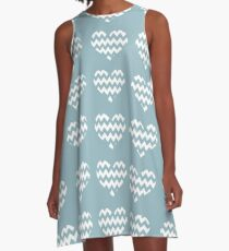 Zigg Zagg Stripe Hearts - 5 A-Line Dress