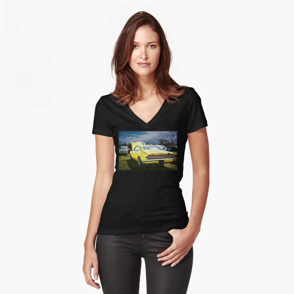 Yellow Holden HK Monaro GTS Fitted V-Neck T-Shirt