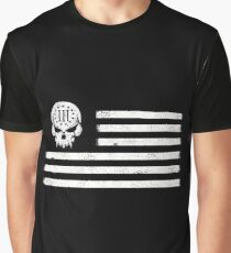 Three Percenter Skull and American Flag Oath Keeper Flag Graphic T-Shirt