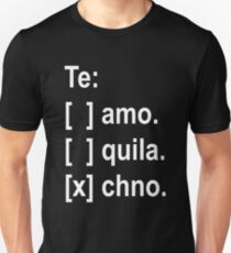 Te Amo, Tequila, Techno-Checkbox Slim Fit T-Shirt
