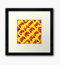 Video game controller background Gadgets seamless pattern Framed Print