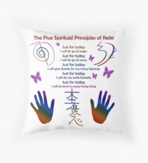 The 5 Principles of Reiki Throw Pillow