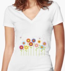 Colorful Garden Women's Fitted V-Neck T-Shirt