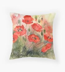 Field Poppies Throw Pillow