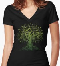 Meditieren, Meditation, spirituelles Baum Yoga Tailliertes T-Shirt mit V-Ausschnitt