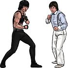 Jackie Chan & Benny The Jet Urquidez Inspired Character Art - Wheels On Meals 1984 by Marten Go