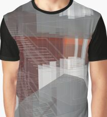 red, gray, orange, white, stairs and walls, abstract architectural drawings Graphic T-Shirt