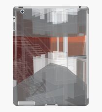 red, gray, orange, white, stairs and walls, abstract architectural drawings iPad Case/Skin