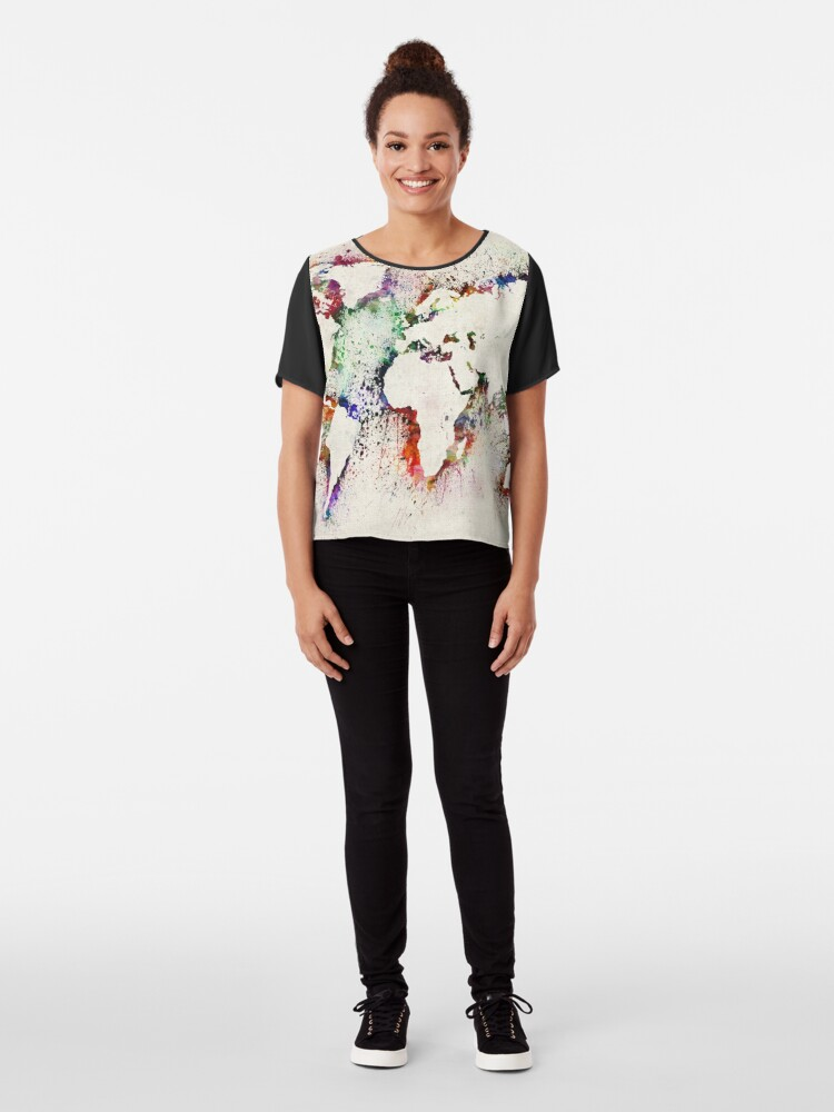 Alternate view of Map of the World Paint Splashes Chiffon Top