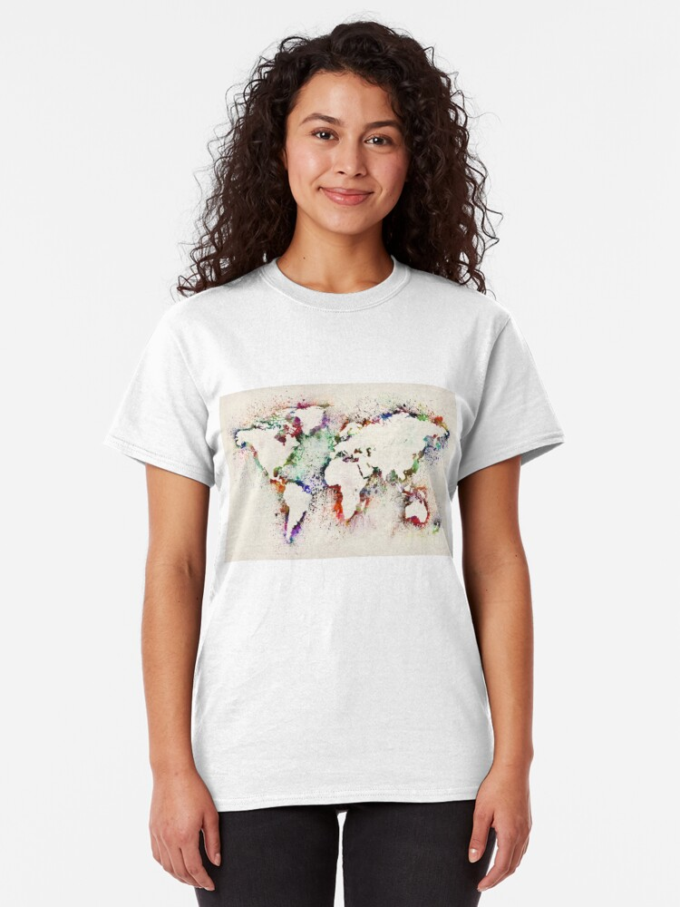 Alternate view of Map of the World Paint Splashes Classic T-Shirt