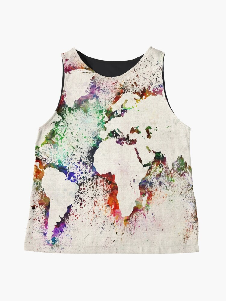 Alternate view of Map of the World Paint Splashes Sleeveless Top