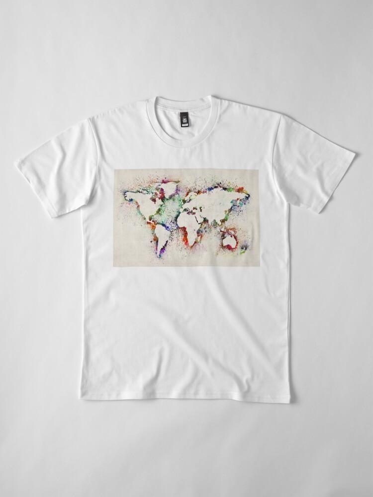Alternate view of Map of the World Paint Splashes Premium T-Shirt