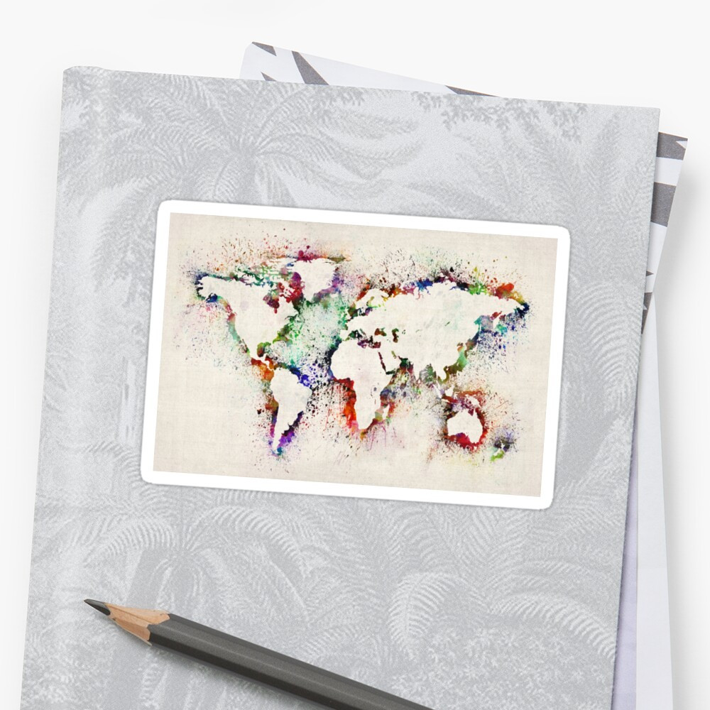 Map of the World Paint Splashes Sticker