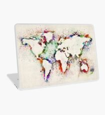 Map of the World Paint Splashes Laptop Skin