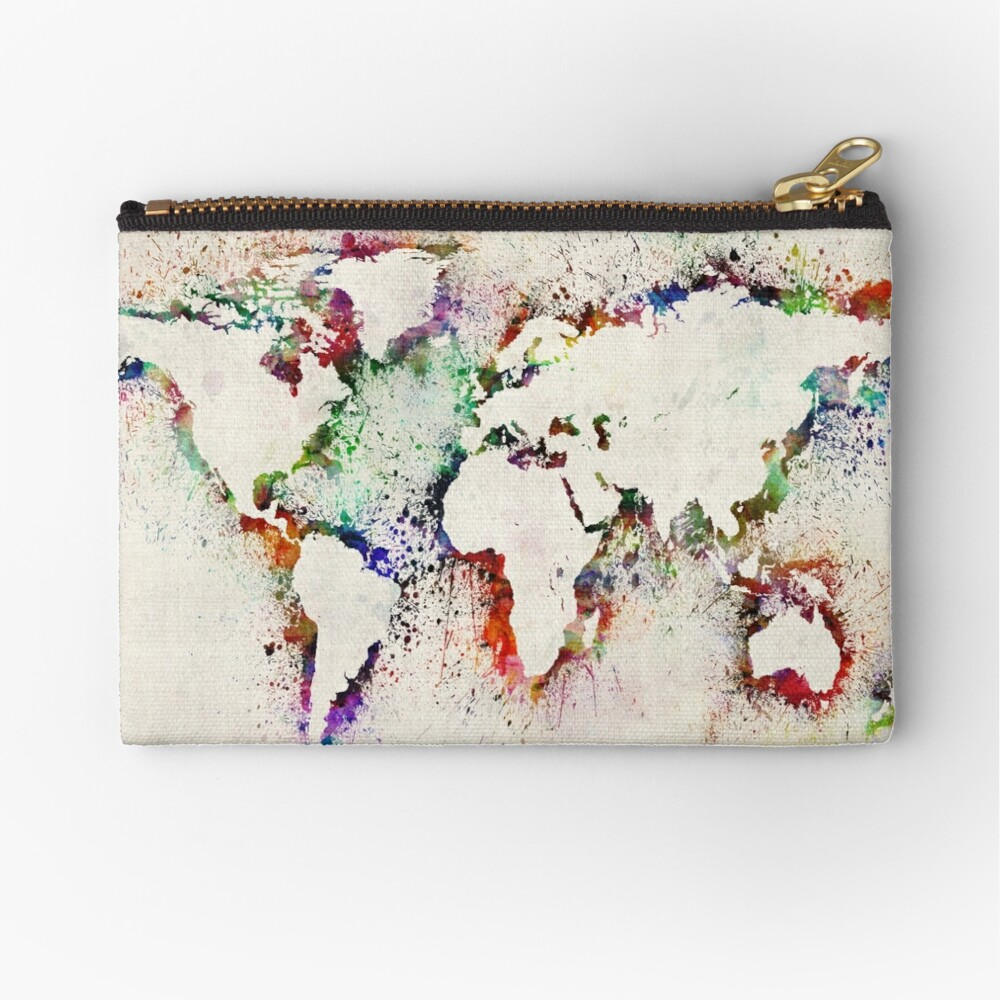 Map of the World Paint Splashes Zipper Pouch