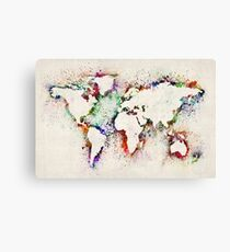 Lienzo Mapa de World Paint Splashes