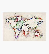 Karte der Welt Paint Splashes Fotodruck