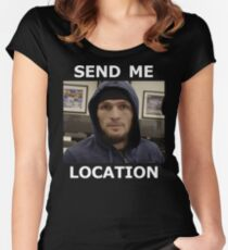 Khabib Nurmagomedov UFC 'Send Me Location' Women's Fitted Scoop T-Shirt