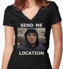 Khabib Nurmagomedov UFC 'Send Me Location' Women's Fitted V-Neck T-Shirt
