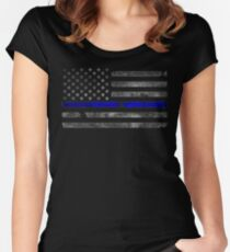 Thin Blue Line Flag | Blue Lives Matter Distressed Flag with Bullet Hole Police & Cops Support Women's Fitted Scoop T-Shirt