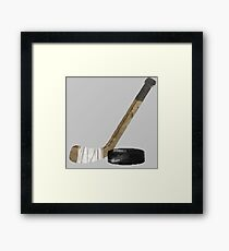 Hockey Stick and Puck - watercolor Framed Print