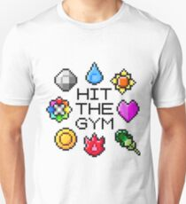 """""""Hit The Gym"""" Indigo League Badges Unisex T-Shirt"""