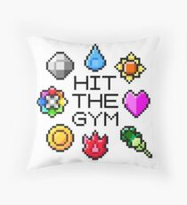 """Hit The Gym"" Indigo League Badges Throw Pillow"