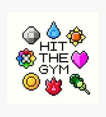 """Hit The Gym"" Indigo League Badges Art Print"