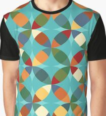 Colorful Mid Century Modern Geometric Circle X Print Graphic T-Shirt