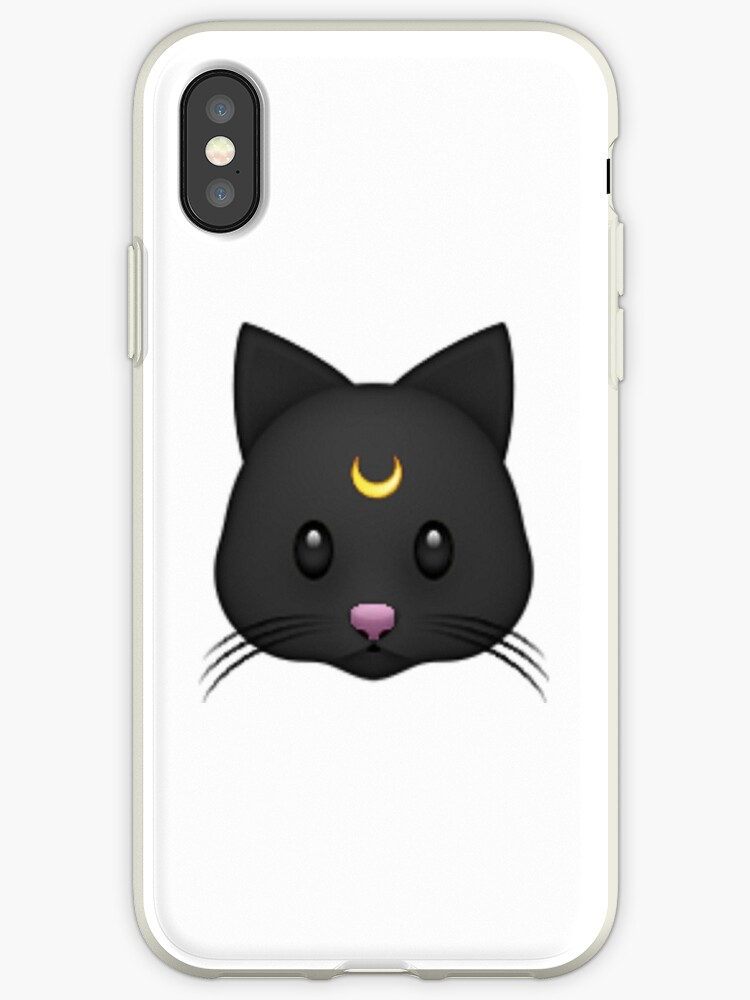 luna black cat emoji iphone cases covers by phantastique redbubble