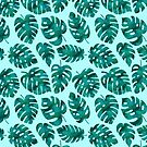 Tropical Monstera Leaves Pattern - Green by blueskywhimsy
