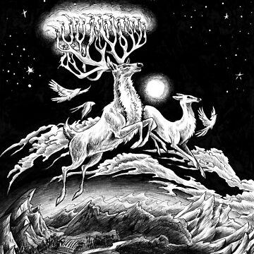 Reindeer Midnight Flight - Original Pen Drawing by carissalapreal