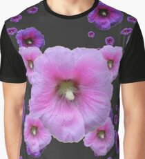 DELICATE PINK & PURPLE HOLLYHOCKS  CHARCOAL GREY   Graphic T-Shirt
