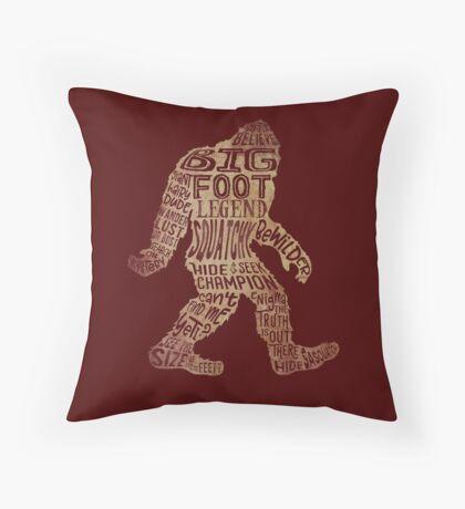 Funny Bigfoot, Sasquatch Silhouette Words in Brown Floor Pillow