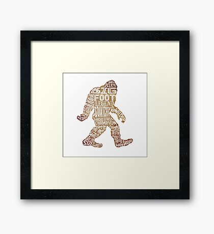 Funny Bigfoot, Sasquatch Silhouette Words in Brown Framed Print