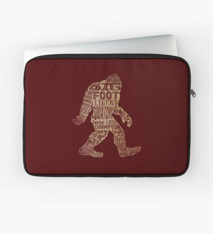 Funny Bigfoot, Sasquatch Silhouette Words in Brown Laptop Sleeve
