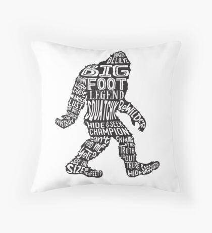Funny Bigfoot, Sasquatch Silhouette Words in Black Floor Pillow