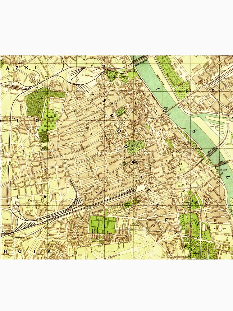Antique map of downtown Warsaw Poland\
