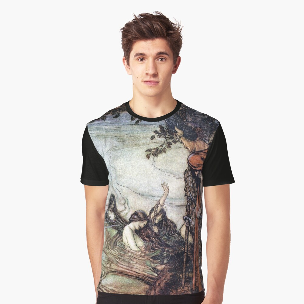 Siegfried and the Rhinemaidens - Siegfried and the Twilight of the Gods by Arthur Rackham Graphic T-Shirt Front