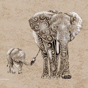 Swirly Elephant Family by CarolinaMatthes