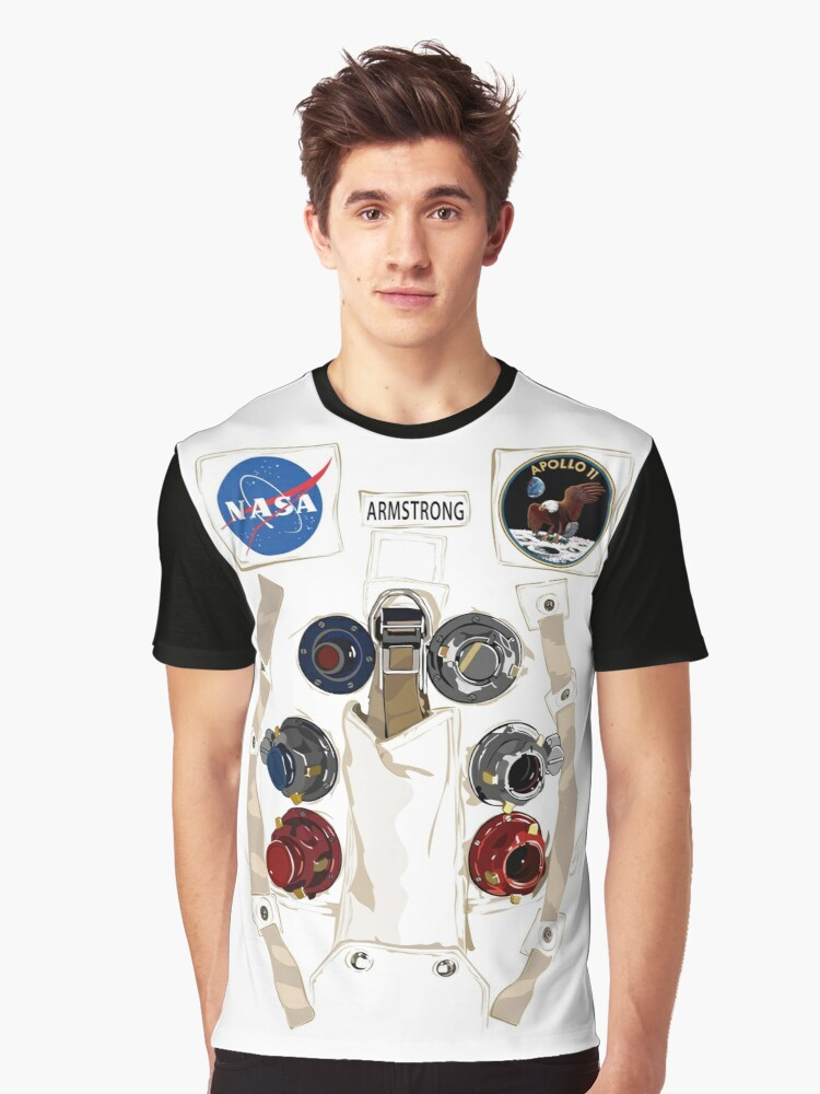 Neil Armstrong NASA Astronaut Spacesuit Graphic T-Shirt Front