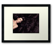Beauty portrait of woman surrounded by long brown hair art photo print Framed Print