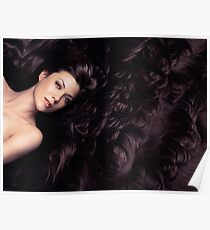 Beauty portrait of woman surrounded by long brown hair art photo print Poster