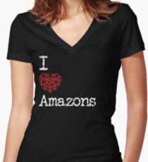 I Heart Amazons | Love Amazon Bird Breeds Women's Fitted V-Neck T-Shirt